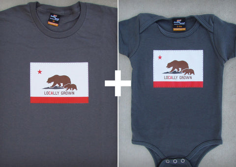 Locally Grown Gift Set – California Men's T-shirt + Baby Onepiece/T-shirt