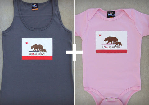 Locally Grown Gift Set – California Women's Tank Top + Baby Onepiece/T-shirt