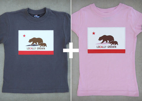 Locally Grown Gift Set – California Youth Boy T-shirt + Youth Girl T-shirt