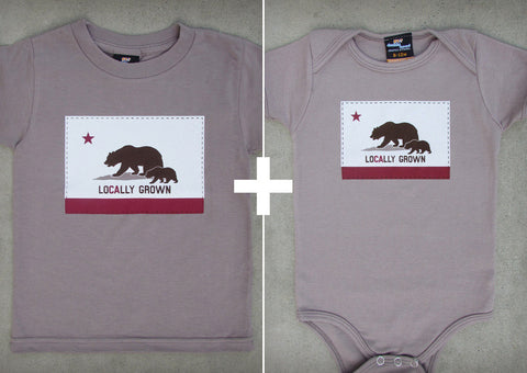 Locally Grown Gift Set – Eco-friendly Organic California Youth T-shirt + Baby Onepiece/T-shirt