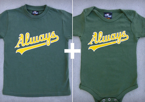 Always (Oakland A's) Gift Set – Youth T-shirt + Baby Onepiece/T-shirt