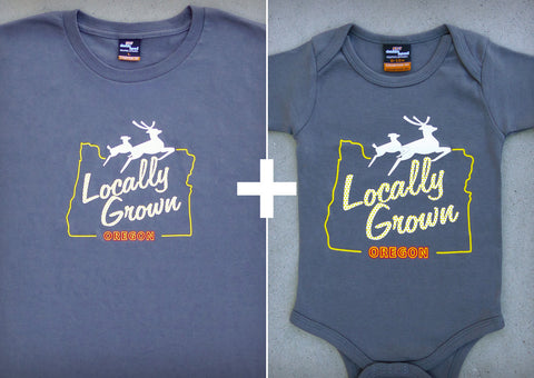 Locally Grown Gift Set – Oregon Men's T-shirt + Baby Onepiece/T-shirt