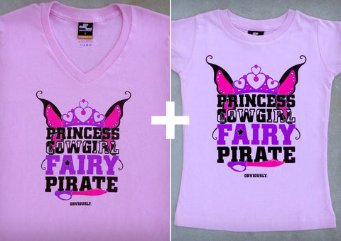 Princess Cowgirl Fairy Pirate Gift Set – Women's V-neck T-shirt + Youth Girl T-shirt