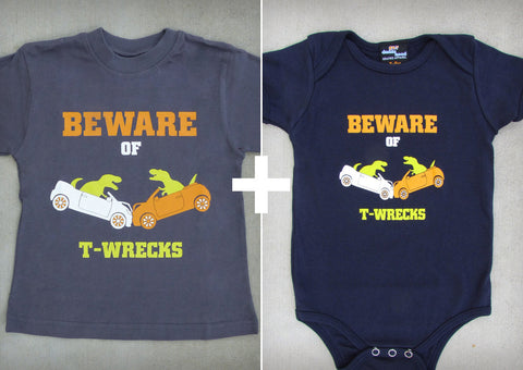Beware of T-wrecks Gift Set – Youth Boy T-shirt + Baby Onepiece/T-shirt