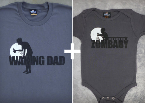 The Waking Dad and Zombaby Gift Set – Men's T-shirt + Baby Onepiece/T-shirt