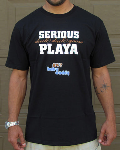 Serious Duck Duck Goose Playa (24-7 Baby Daddy) – Men's Daddy Black & Olive Green T-shirt
