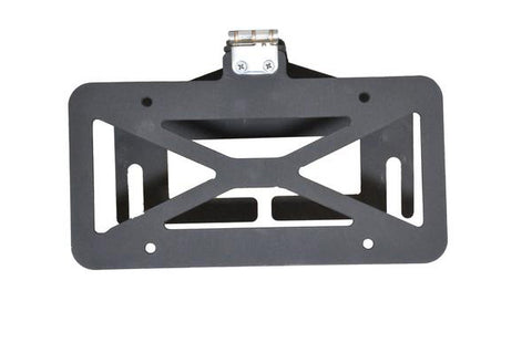 Flip down license plate bracket