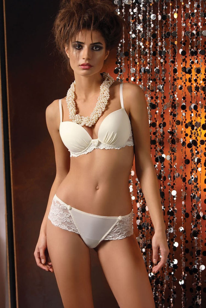Ivory or black women's lingerie bras of a fine lace and microfibre design, with push-up, mousse cups and detachable pads.