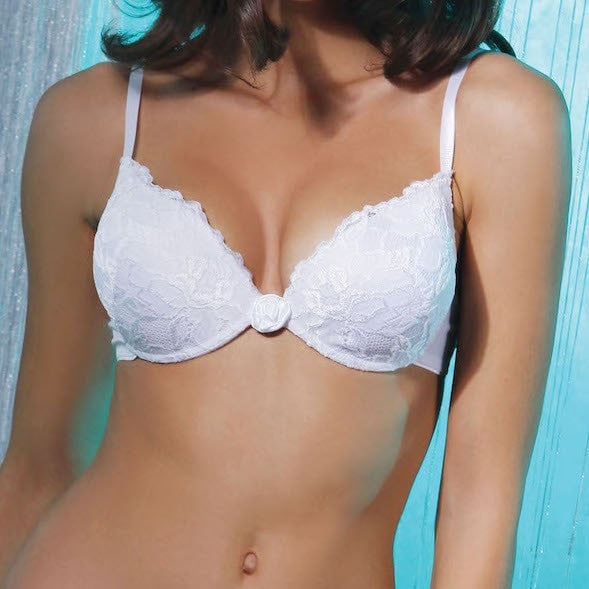 Push-up Bra Lace Delight. White or black women's lingerie underwired bras with a push-up, moulded gel cups and a fine lace design.