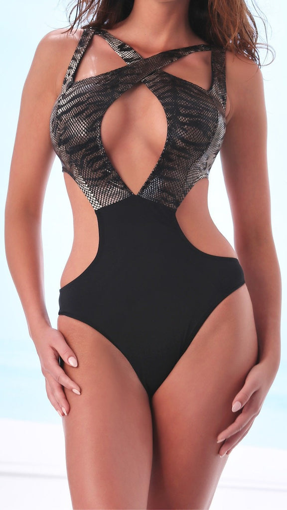 Original and sensual women's swim/beachwear one-piece suit featuring a mamba snake design on the bra and straps area. Material: 90%PA+10%EA.