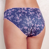 Briefs Aleria. Navy women's lingerie briefs with a design of abstract white and pink cherry flowers on a navy background.