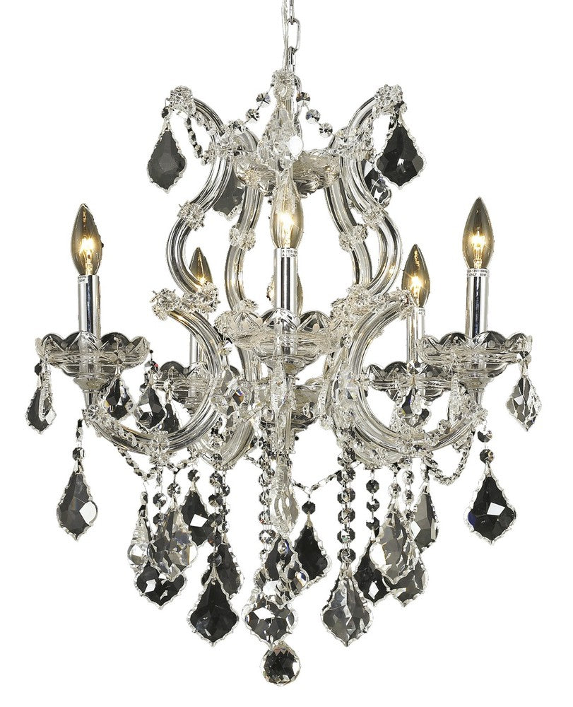 2800 Maria Theresa Collection Pendant D:20in H:25in Lt:6 Chrome Finish (Elegant Cut Crystals) 2800d20c/ec