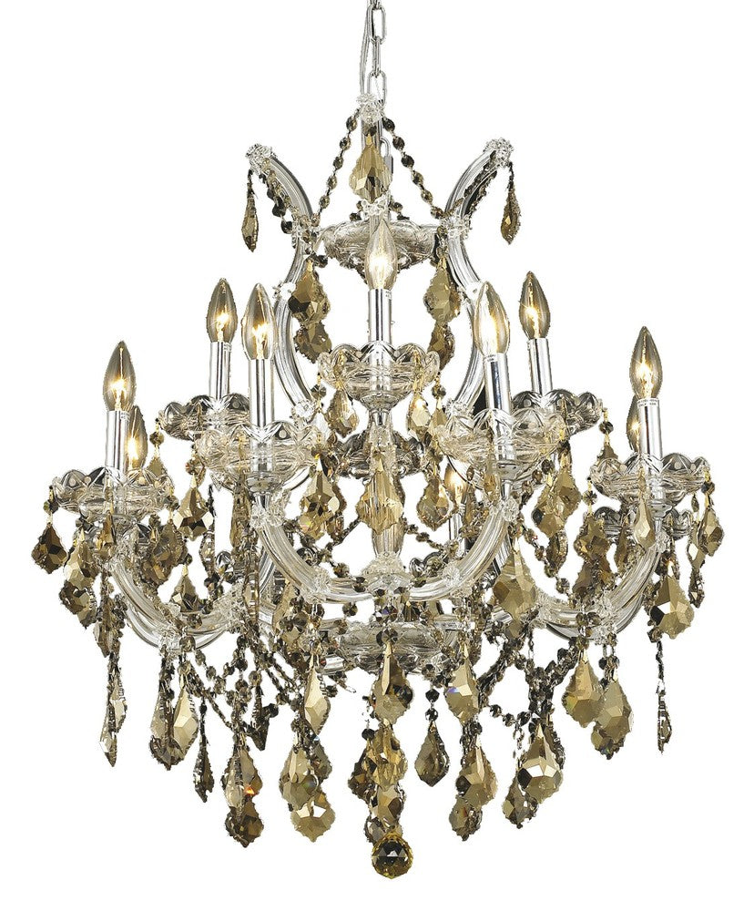 Maria Theresa 13 light Chrome Chandelier Golden Teak (Smoky) Royal Cut Crystal 2800d27c-gt/rc