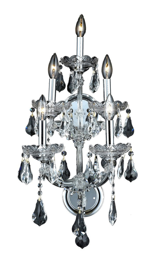 2801 Maria Theresa Collection Wall Sconce D:12in H:25in E:11.5in Lt:5 Chrome Finish (Royal Cut Cryst 2801w5c/rc