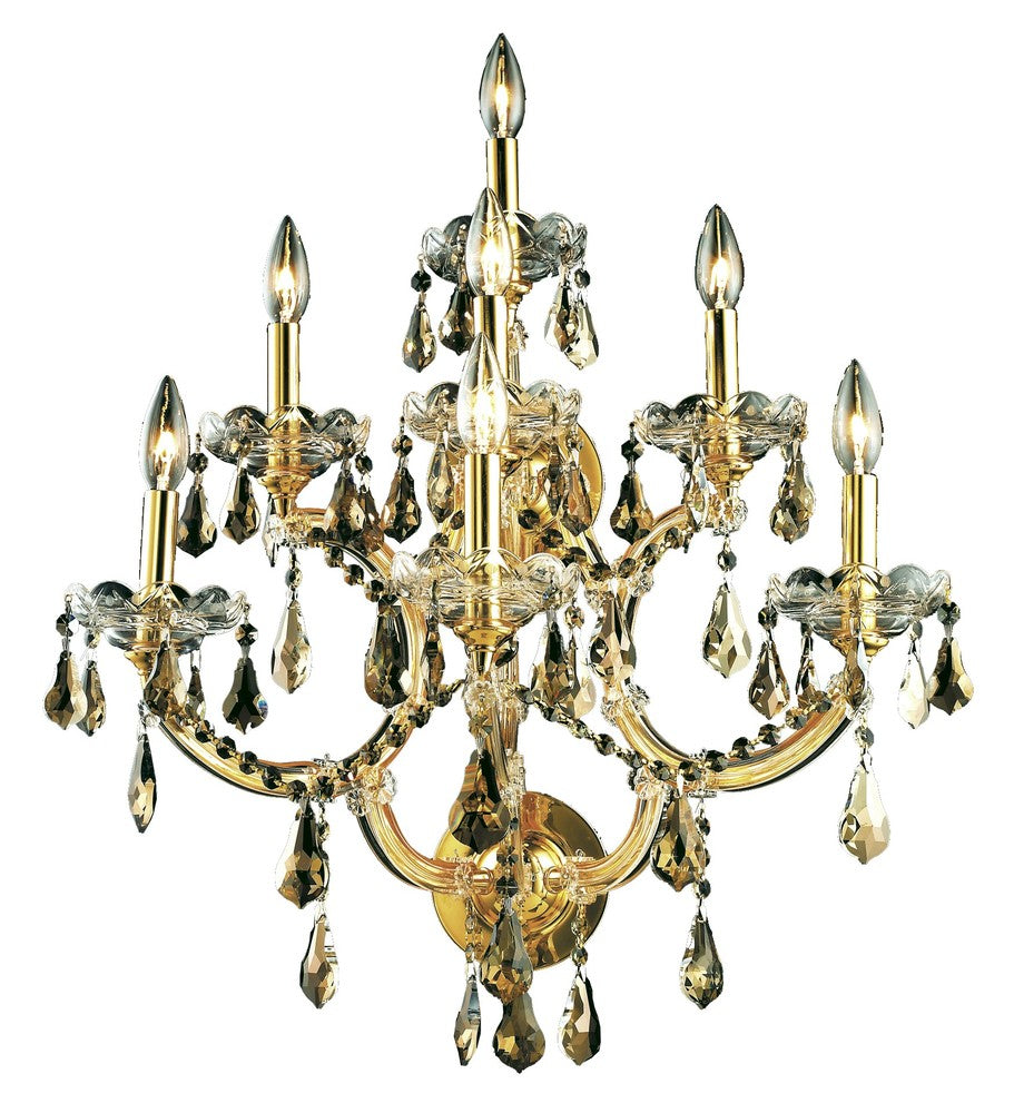2801 Maria Theresa Collection Wall Sconce D:22in H:27in E:15.5in Lt:7 Gold Finish (Swarovski� Elemen 2801w7g-gt/ss