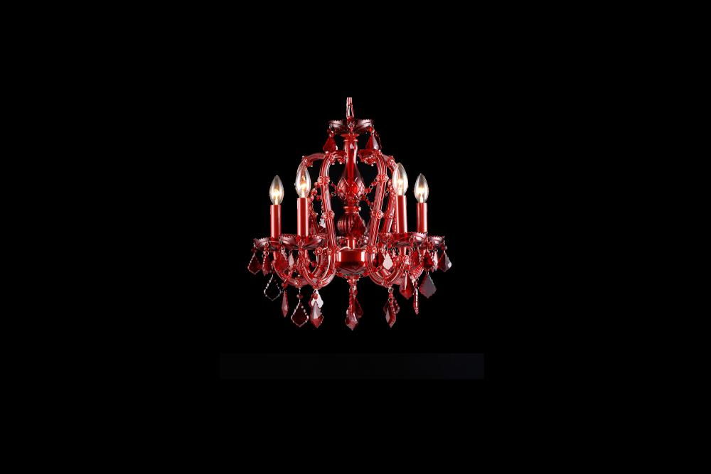 Crimson Blvd. Collection Red 5 Light Mini Crystal Chandelier HF1307