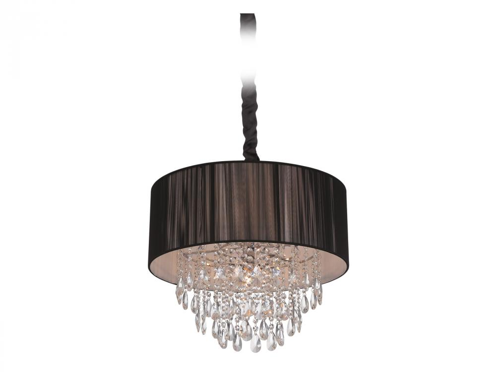 Vineland Ave. Collection Black Lined Silk String Shade And Crystal Hanging Fixture HF1506