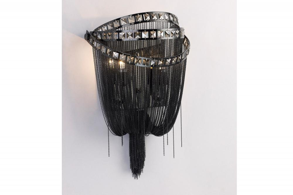 WILSHIRE BLVD. COLLECTION BLACK CHROME CHAIN AND SMOKE CRYSTAL WALL SCONCE HF1607