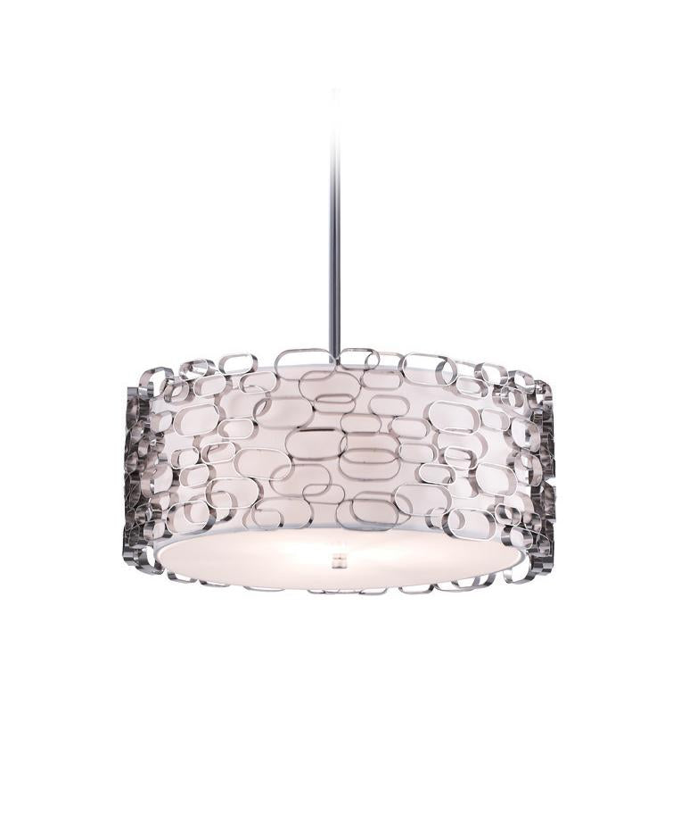VENTURA BLVD. COLLECTION METAL OVAL PATTERN ROUND HANGING FIXTURE HF1702-PN