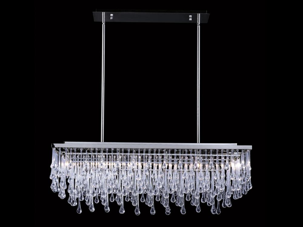 HOLLYWOOD BLVD. COLLECTION POLISHED NICKEL AND TEAR DROP CRYSTAL RECTANGLE HANGING FIXTURE HF1807-PN