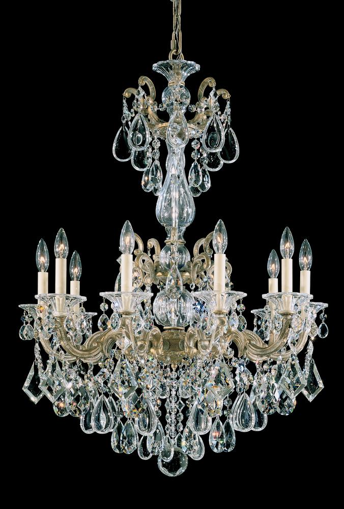 La Scala 10 Light 110V Chandelier in Heirloom Gold with Clear Heritage Crystal 5008