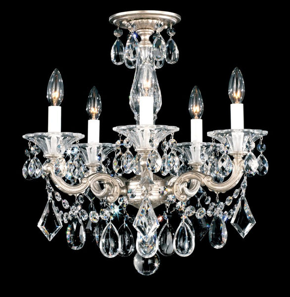La Scala 5 Light 110V Chandelier in Heirloom Gold with Clear Heritage Crystal 5345