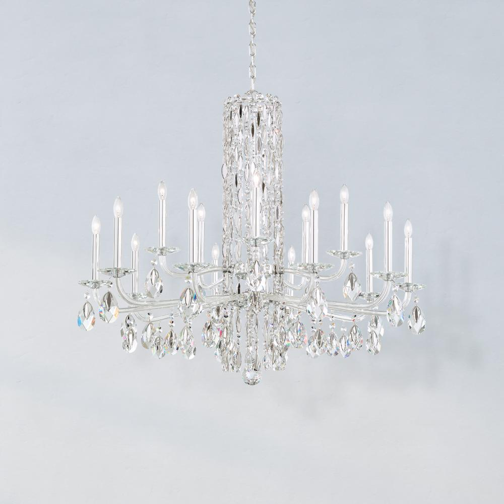 Sarella 15 Light 110V Chandelier in White with Crystal Heritage Crystal RS83151