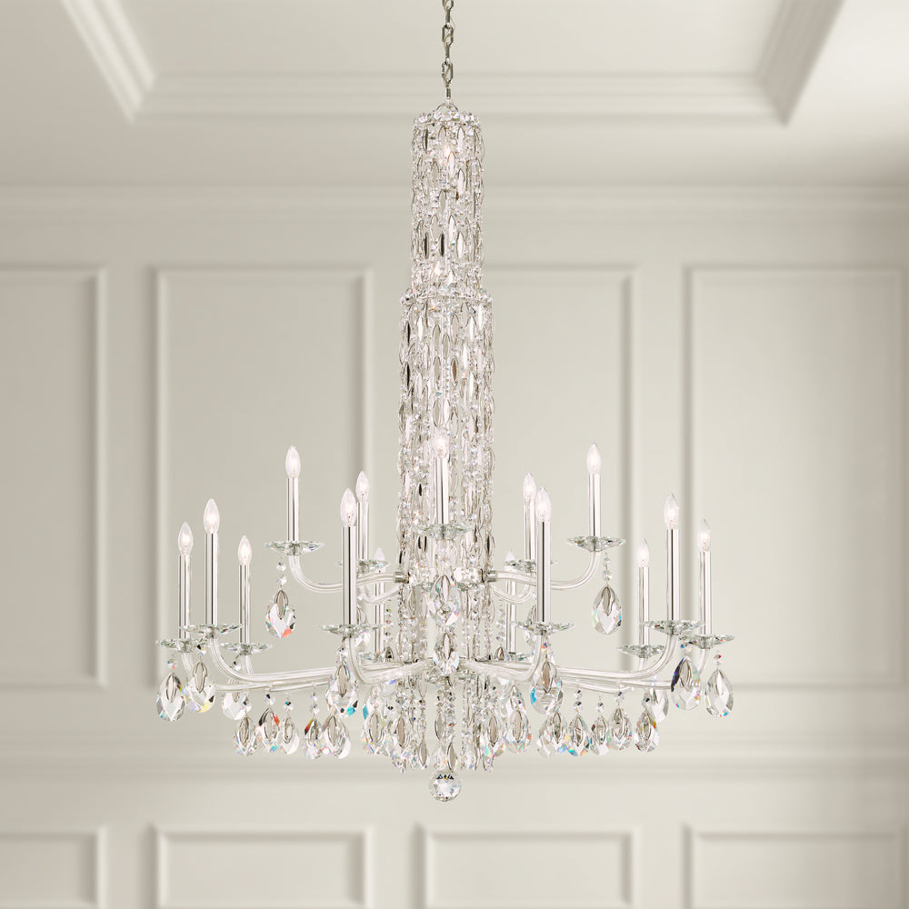 Sarella 15 Light 110V Chandelier in White with Crystal Heritage Crystal RS84151