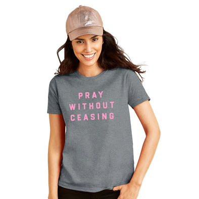Blessed Girl Womens Boyfriend T-Shirt Pray Without Ceasing T-Shirts