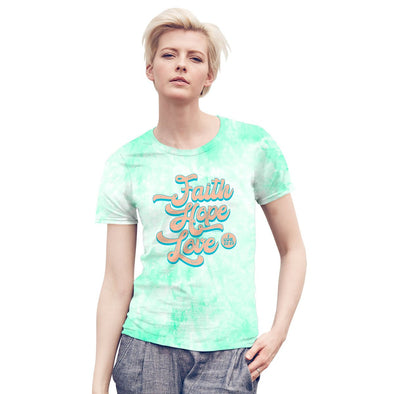 Blessed Girl Womens Tie Dye T-Shirt Faith Hope Love Script T-Shirts