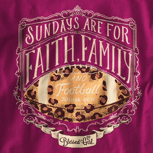 Blessed Girl Womens Long Sleeve T-Shirt Faith Family Football T-Shirts