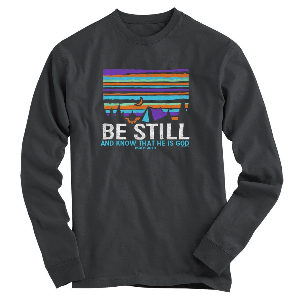 Light Source Mens Long Sleeve T-Shirt Be Still Tent