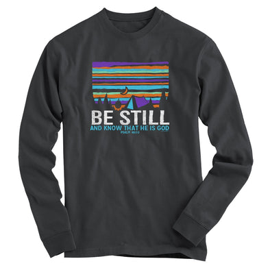 Light Source Mens Long Sleeve T-Shirt Be Still Tent T-Shirts