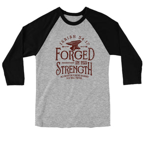 Light Source Mens Raglan T-Shirt Forged In His Strength T-Shirts