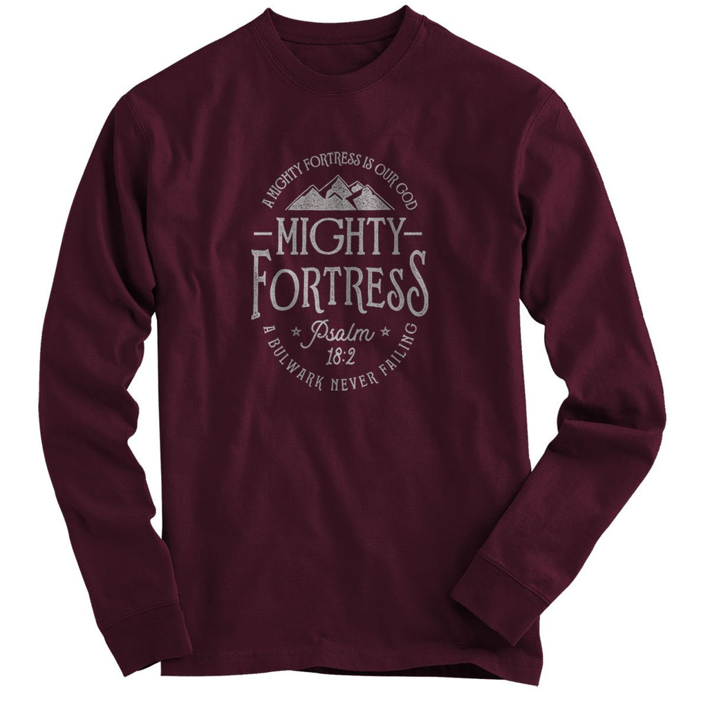 Light Source Mens Long Sleeve T-Shirt Mighty Fortress