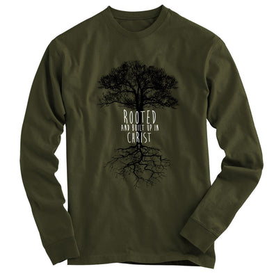 Light Source Mens Long Sleeve T-Shirt Rooted In Christ T-Shirts