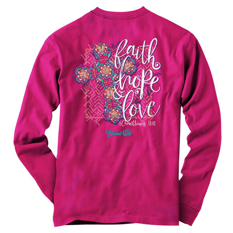 Faith Hope Love Cross Long-Sleeve T-Shirt