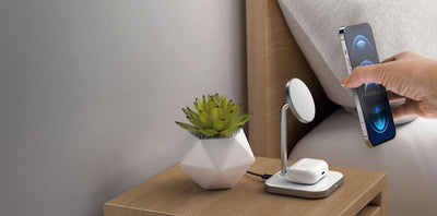 2-in-1 Wireless Charger on wooden nightstand