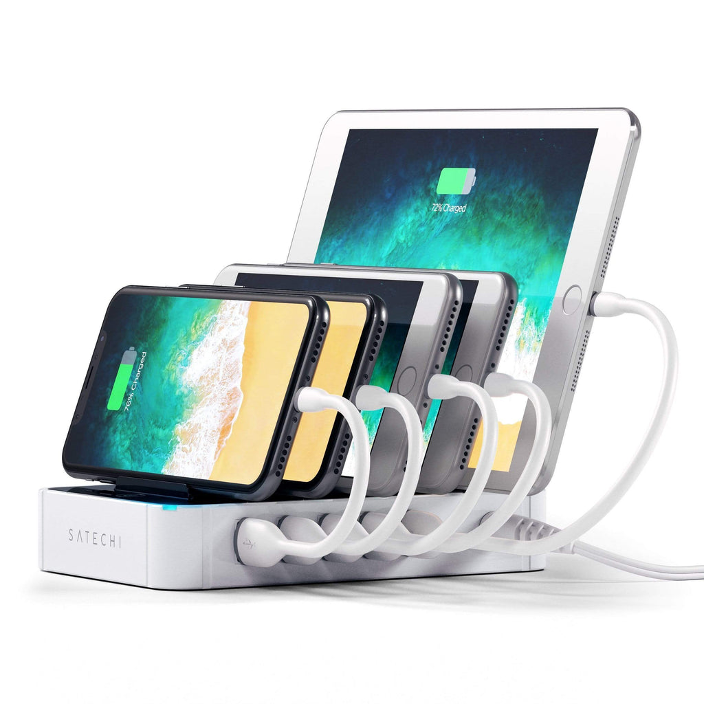 5-Port USB Charging Station Dock with Qualcomm Certified Quick Charge 2.0 Charging Stations Satechi White
