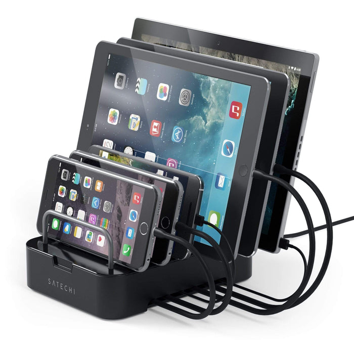 6-Port Customizable Media Organizer Desktop Charging Station Charging Stations Satechi Black