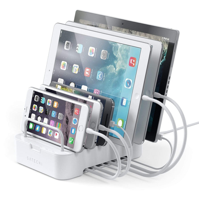 6-Port Customizable Media Organizer Desktop Charging Station Charging Stations Satechi White