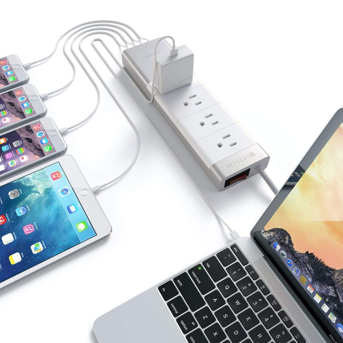 Aluminum Power Strip with 4 USB Charging Ports Wall Chargers Satechi