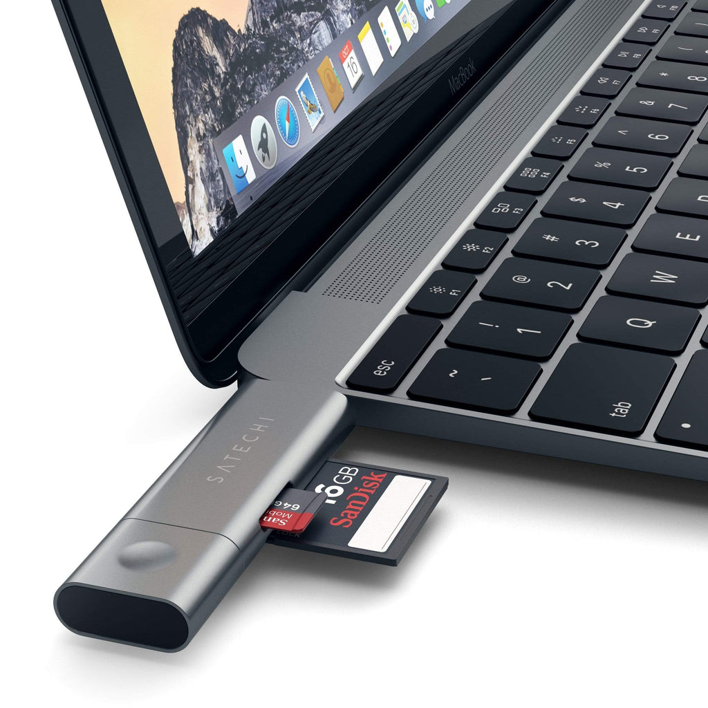 Aluminum Type-C USB 3.0 and Micro/SD Card Reader for Type-C Devices Hubs Satechi Space Gray