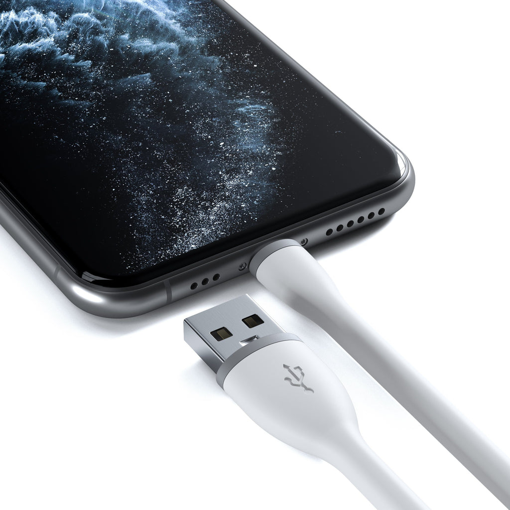 Flexible Lightning to USB Cable - Apple MFI Certified Charging Cables Satechi White