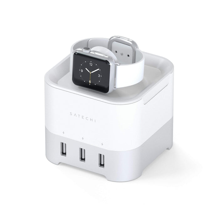Smart Charging Stand for Apple Watch 1/2/3/4, Fitbit Blaze and iPhone XS Max/XS/XR/X Wall Chargers Satechi Silver