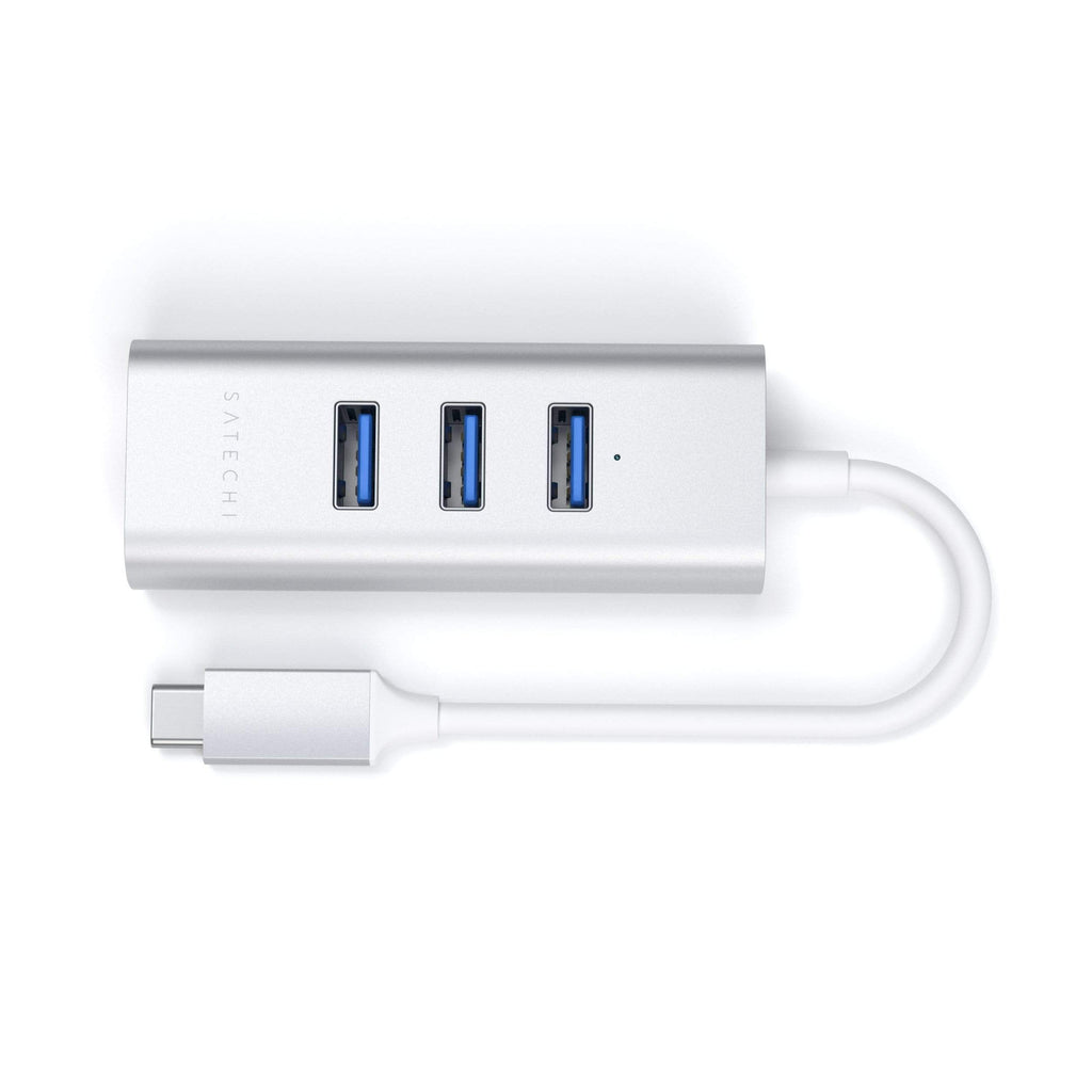 Type-C 2-in-1 USB 3.0 Aluminum 3 Port Hub and Ethernet Port USB-C Satechi Silver