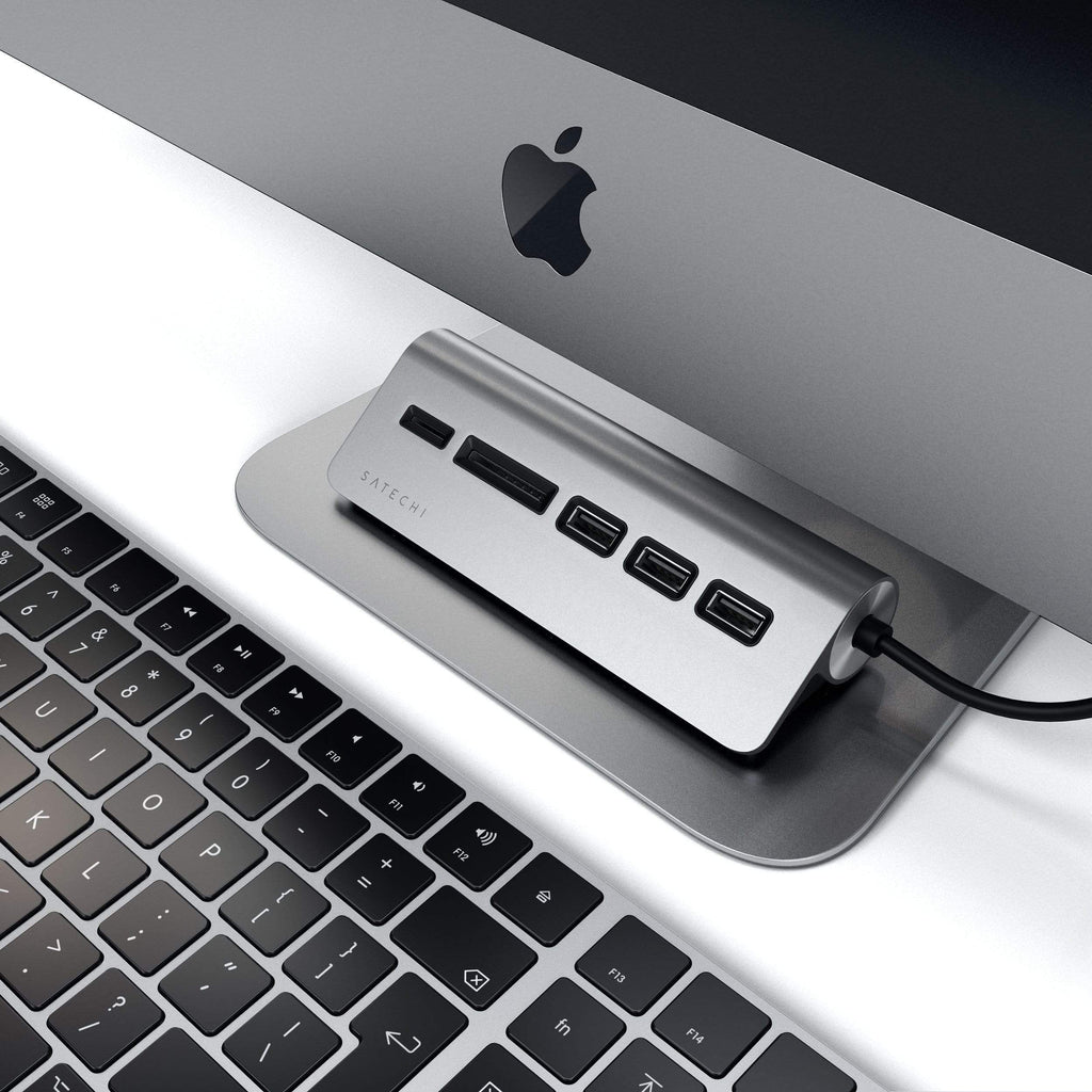 Type-C Aluminum USB 3.0 Hub & Card Reader Hubs Satechi Space Gray