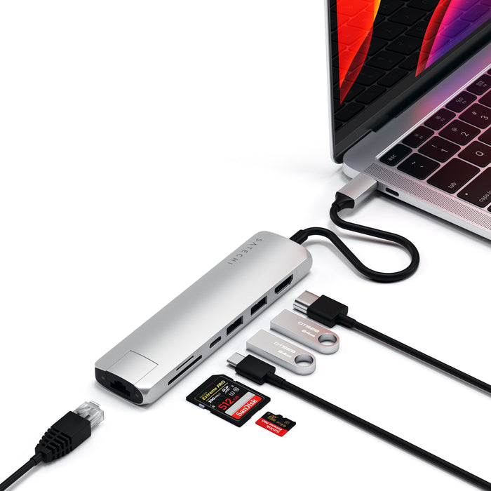Type-C Slim Multi-Port Adapter with Ethernet USB-C Satechi