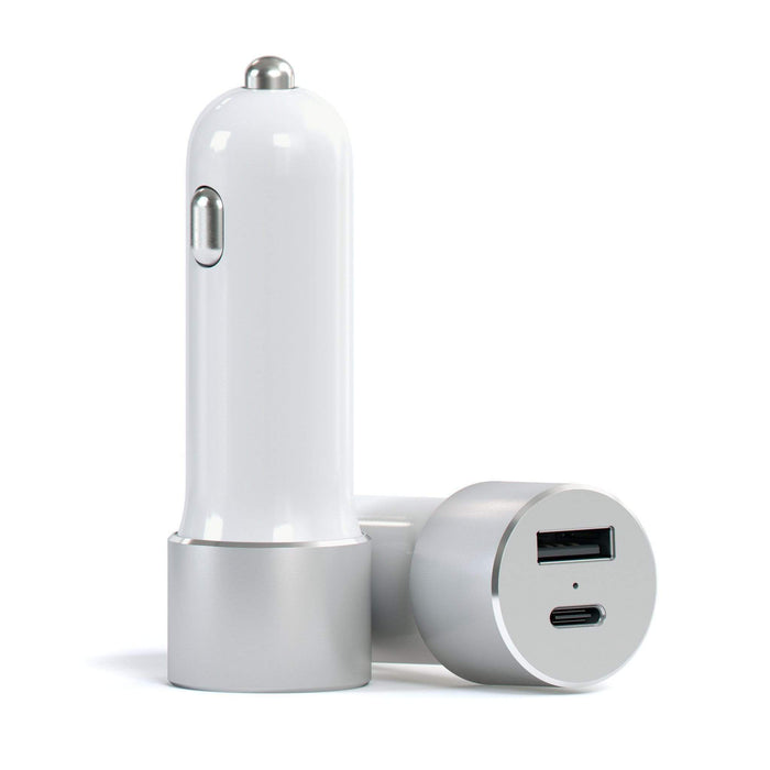 USB-C Car Charger Adapter with Type-C Fast Charge and Standard USB-A Outputs Car Charging Satechi Silver