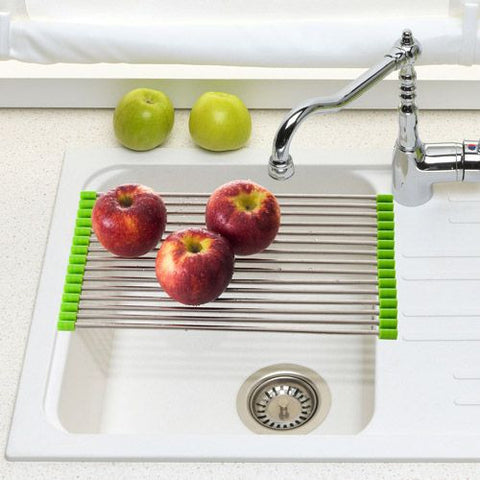 Kitchen Folding Sink Roll Stainless Steel Silicone Drain Shelf Drying Rack